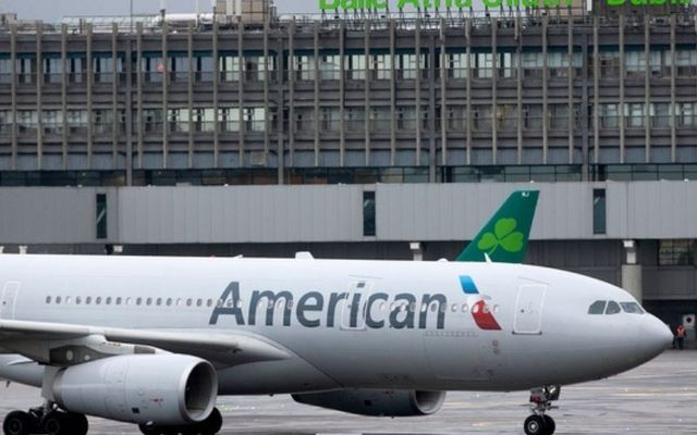 An American Airlines flight at Dublin Airport during the COVID-19 pandemic.