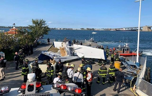 The scene of the fatal plane crash in Queens, New York on October 4, 2020.