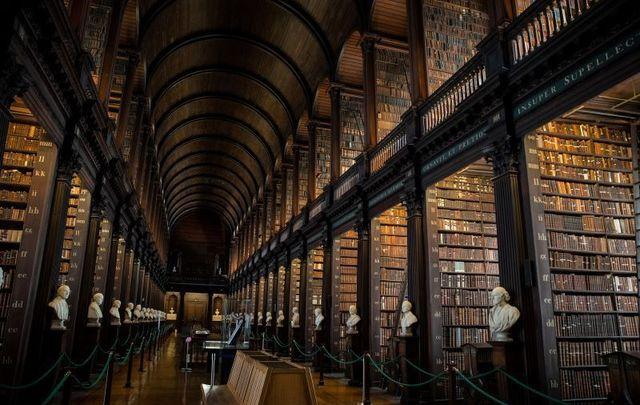 The lower gallery at The Long Room at Trinity College Dublin.