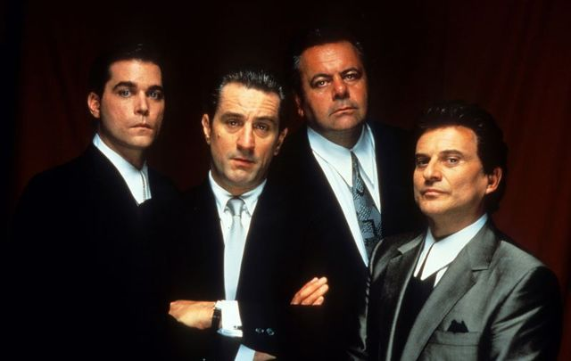 Ray Liotta, Robert De Niro, Paul Sorvino, and Joe Pesci in a publicity shot for Goodfellas.