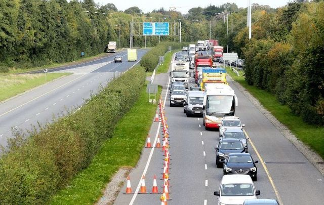 October 7, 2020: A checkpoint on the M11 near Bray. Operation Fanacht resumes as the Republic of Ireland enters Level 3.