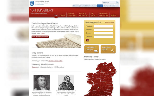 The website of Trinity\'s 1641 Depositions Project.