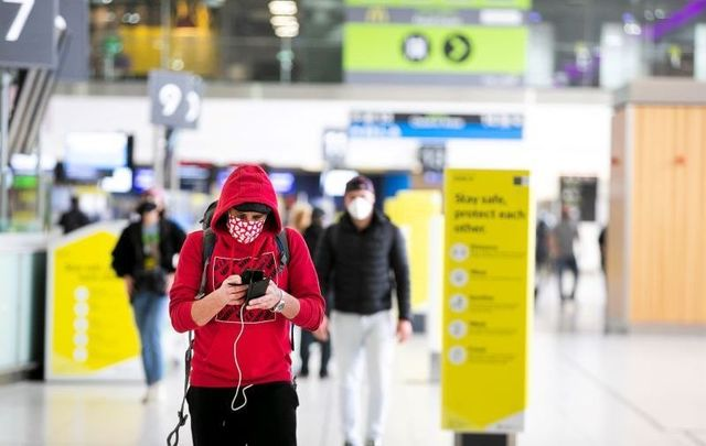 A passenger wearing a face mask pictured at Dublin Airport on July 2, 2020.
