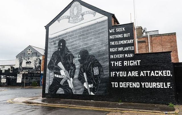 A mural in East Belfast in Northern Ireland.