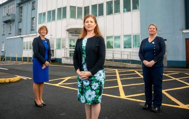Director of Nursing Margaret Finn, CEO Emer Martin, and Clinical Nurse Manager Emer McLoughlin from St. John\'s Hospital in Co Limerick.