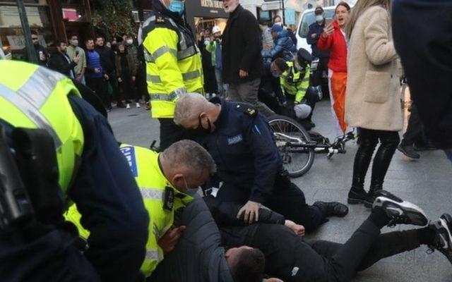 October 22, 2020: Gardaí arrest anti-lockdown protesters on Grafton Street.