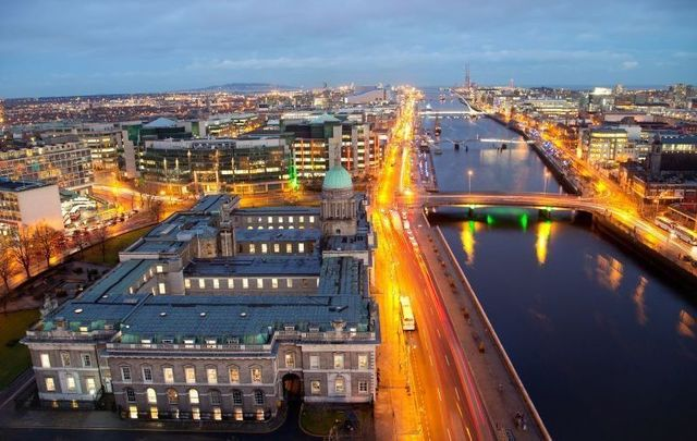 Dublin city: An aerial shot of the Custom House and the north quays.