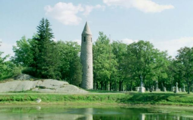 The Milford Round Tower stands as a memorial to Irish immigrants in Massachusetts.