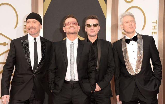 U2 at the 2014 Academy Awards in Hollywood, California.