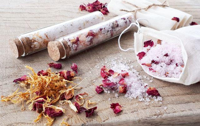 The Moher Soap Co. bath salt vials with a muslim bag.