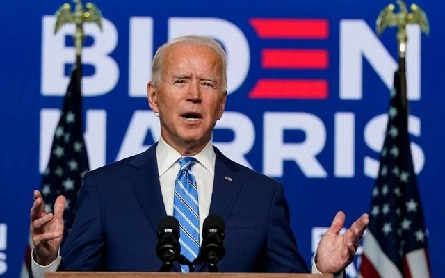 Joe Biden addresses the media after the November 3 election day in the US.