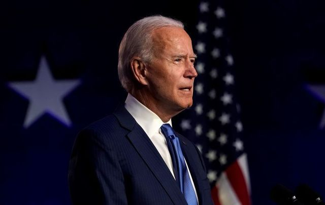 November 6, 2020: Democratic presidential nominee Joe Biden delivers an address from the Chase Center in Wilmington, Delaware on Friday, November 6, 2020.