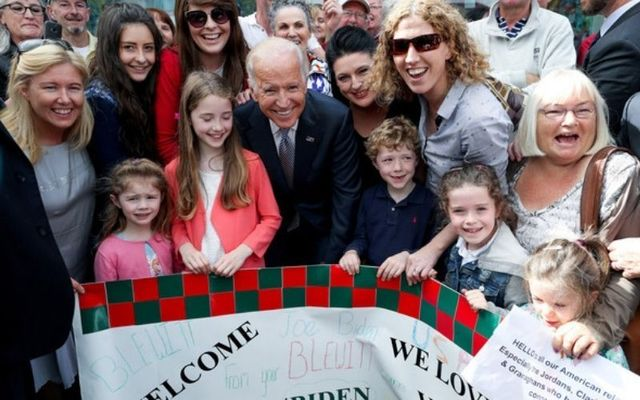 Joe Biden with Ballina locals during a visit in 2016.