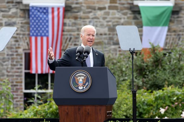 Joe Biden speaking at Dublin Castle, during his 2016 visit to Ireland as vice president.
