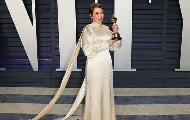 February 24, 2019: Olivia Colman, winner for Best Actress in a Leading Role, attends the 2019 Vanity Fair Oscar Party hosted by Radhika Jones at Wallis Annenberg Center for the Performing Arts in Beverly Hills, California.