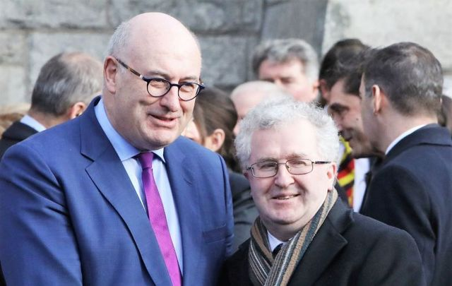 Justice Seamus Woulfe (right) pictured with Phil Hogan, who resigned from his role as EU Commissioner for Trade after Golfgate.