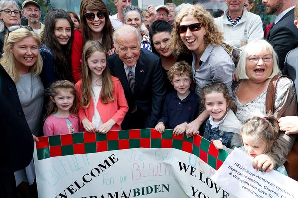 Joe Biden, visiting his ancestral home of Ballina, County Mayo, in 2016.