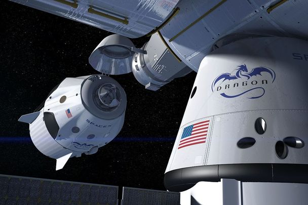 An artist\'s concept of the SpaceX Crew Dragon docking with the International Space Station.