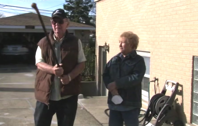 Don\'t mess with an Irish American! Dan Donovan, 81, and his wife Barbara, from Niles, Illinois.