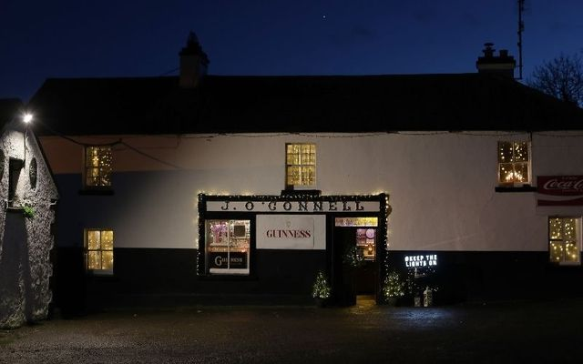 J O\'Connell\'s in Skryne Co. Meath; the pub from the iconic Guinness Christmas TV ad has been lit up in its festive best.