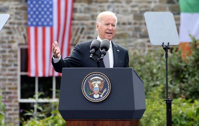 Joe Biden at Dublin Castle in 2016.