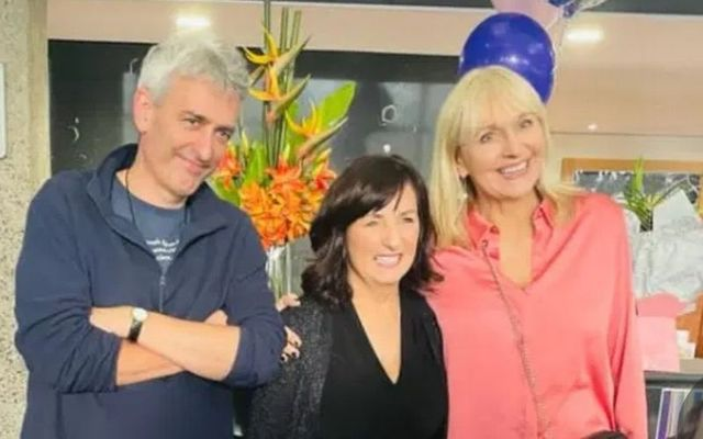David McCullogh (right) and Miriam O\'Callaghan (left) with the departing RTÉ employee.