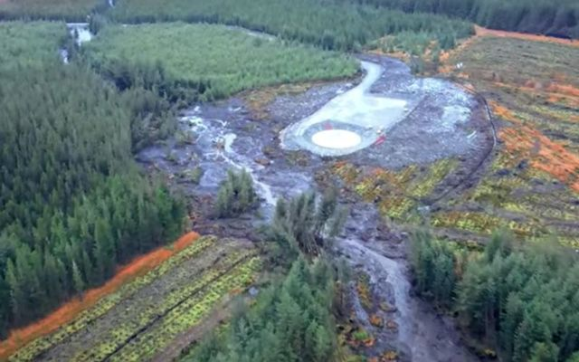Aerial snapshot of the peat slippage in Donegal.