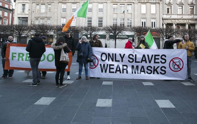 Anti-masker / COVID-19 protestors on O\'Connell Street in Dublin.