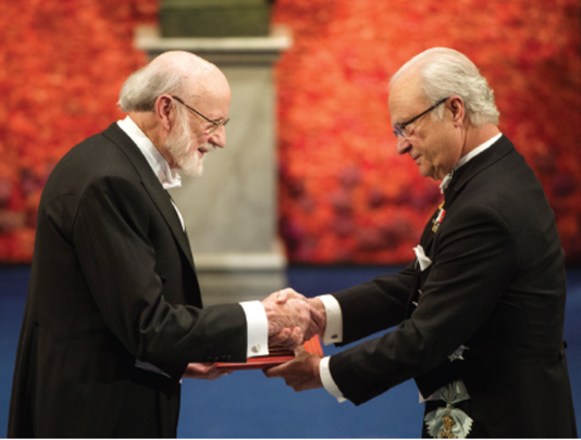 Dr. William Campbell accepting his Nobel Prize in Stockholm.
