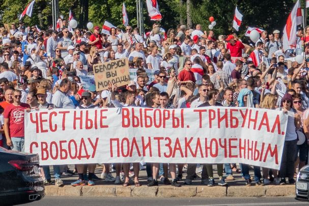 Belarusian protests, in Minsk, Aug 2020.