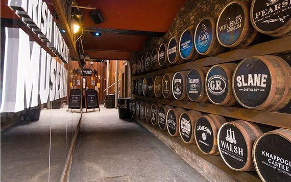 Whiskey barrels at the Irish Whiskey Museum.