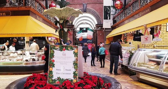 The English Market, in Cork city, at Christmas.