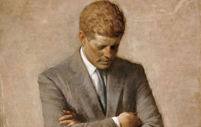 The official portrait of President John F. Kennedy, painted by Aaron Shikler in 1970, is prominently featured in this year\'s White House Christmas decorations.