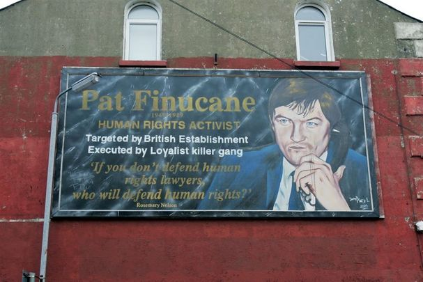 A Pat Finucane mural on the Falls Road area in Belfast, pictured in 2004.