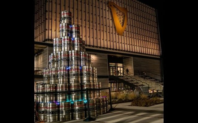 """The Diageo \""""keg tree\"""" will be on display at Guinness Open Gate Brewery this December."""