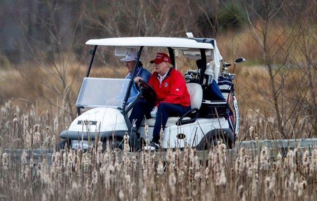 November 27, 2020: President Donald Trump golfs at Trump National Golf Club in Sterling, Virginia.