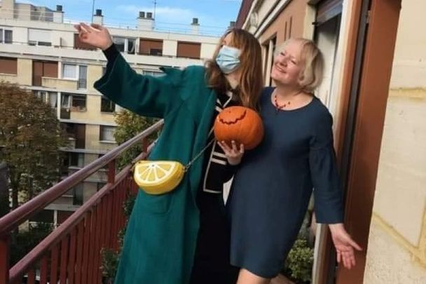 Sheila McNally and her daughter Maya enjoying a sunny October day in Paris.