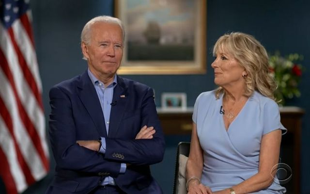 President-elect Joe Biden and First Lady-elect Dr. Jill Biden during their interview with Stephen Colbert.