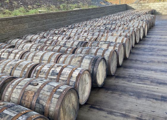 Roll Out The Barrel: Casks lined up for the production line at Hinch Distillery