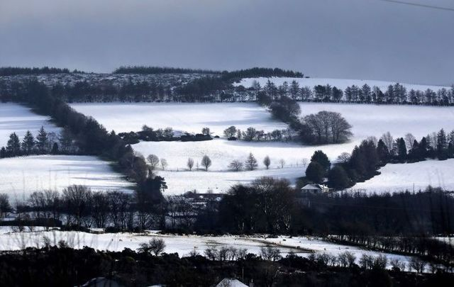 West Wicklow Hills covered in snow.