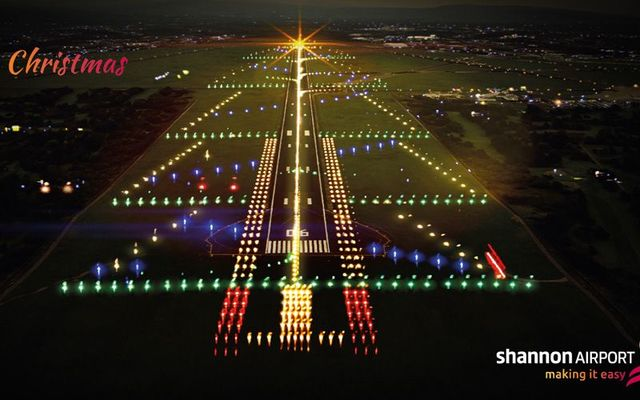 Shannon Airport\'s runway lit up like a Christmas tree.