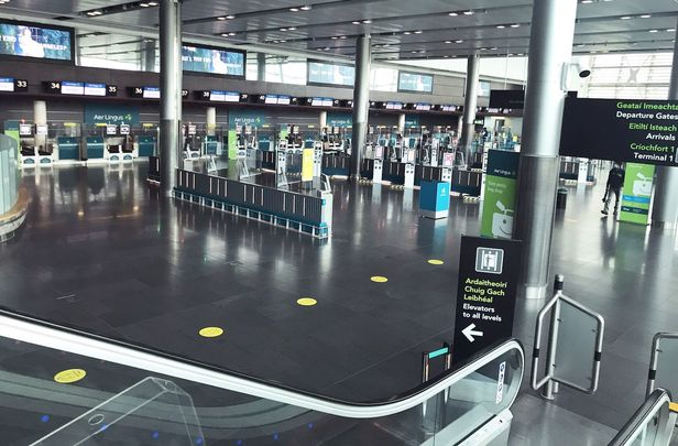 An unusually quiet Dublin Airport as flights from Britain are suspended.