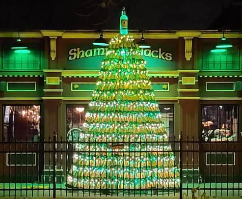 The wonderful Shamrock Jack\'s Irish pub Christmas tree dedicated to the late Roz Hickey.