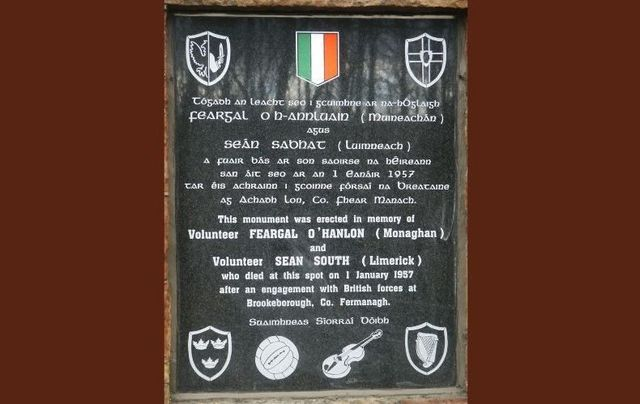 A memorial to Sean South and Fergal O\'Hanlon at Moane\'s Cross in Co Fermanagh.