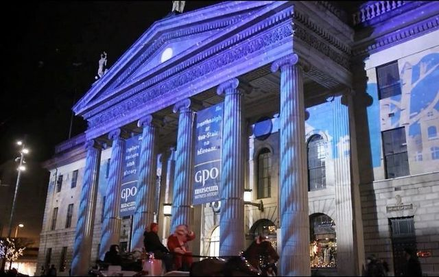 The Winter Lights at The GPO on Dublin\'s O\'Connell Street is one of the sites being streamed.