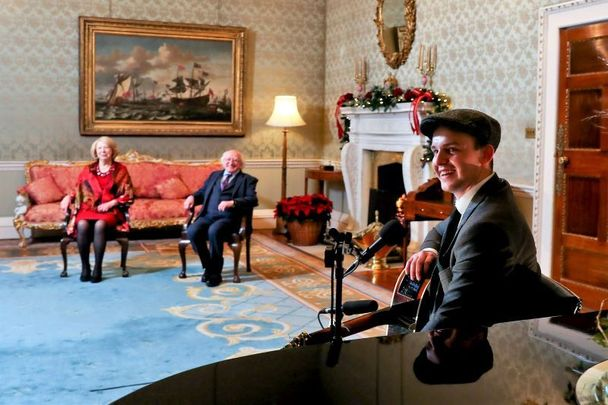 Irish musician Dan McCabe performs The Parting Glass on New Year\'s Eve for President Michael D. Higgins and his wife Sabina.