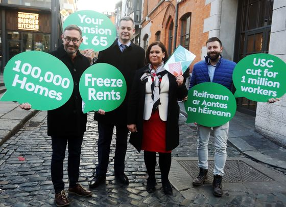 Sinn Féin\'s Eoin O\'Brion, Pearse Doherty and President Mary Lou McDonald, along with a campaigner, launch their 2020 general election manifesto.