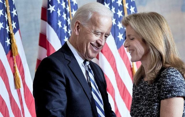 Caroline Kennedy thanks Vice President Joseph Biden after he spoke during an event to honor her father\'s inauguration on Capitol Hill January 20, 2011 in Washington, DC.