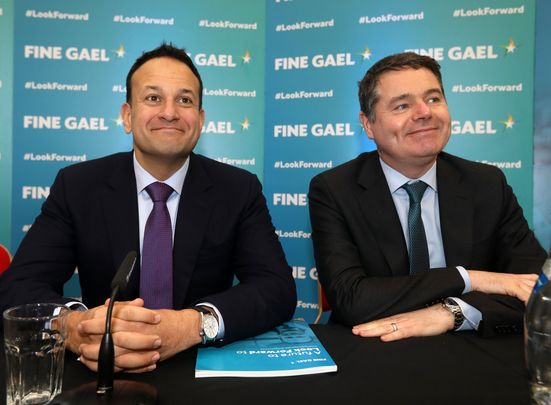 Taoiseach and Fine Gael leader Leo Varadkar, Minister for Finance and Public Expenditure, and Director of Organisation, Paschal Donohoe; hold a final campaign press conference while visiting Carlow institute of technology