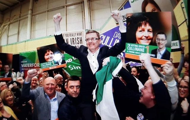 Sinn Fein TD David Cullinane celebrates in Waterford after winning more than 20,500 votes.